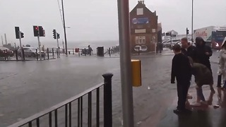Storm Ruptures Drains in Scarborough - Video