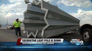 Decorative light pole removed from roadway, Kino Parkway back open - Video