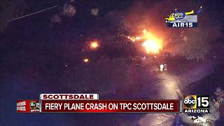 Fiery plane crash on TPC Scottsdale Champions golf course - Video