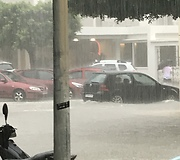 Heavy rains turn street into raging river in Ibiza - Video