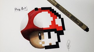 How to draw Mushroom from Super Mario - Video