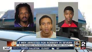 Three men arrested for robbery in Severn - Video
