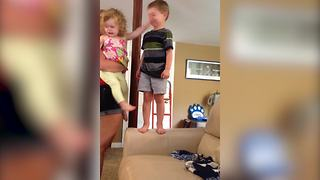 A Big Brother Gets A Slap In The Face From His Little Sister - Video