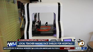 Local teacher making face shields for hospitals