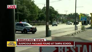 Police clear scene after suspicious package found at Tampa school - Video