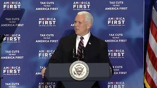 Vice President Pence asks crowd to spread message of progress - Video