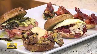 Making Super Bowl sandwiches on bagels in advance of National Bagel Day - Video