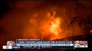 Family escapes large house fire in south Tulsa