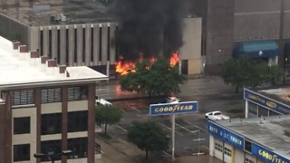 Fire Blazes in Houston Office Building - Video