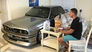 Florida Man Parks BMW Inside House to Protect it From Hurricane - Video