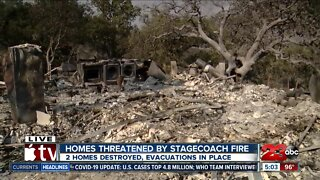 Homes threatened by Stagecoach Fire as evacuations put in place