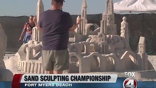 Fort Myers beach sandcastle display - Video
