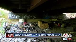 Fire at homeless camp concerns people nearby