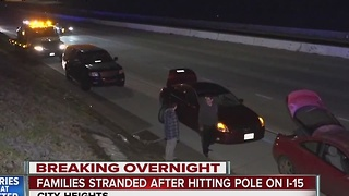 Drunk driver causes pole to fall, popping the tires of I-15 drivers - Video