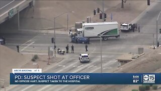 Suspect arrested after allegedly shooting at officer, causes crash near I-17 and Greenway Road