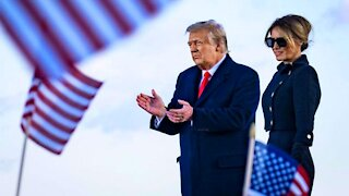 President Donald Trump With Melania Speaks at Joint Air Force Base Andrews