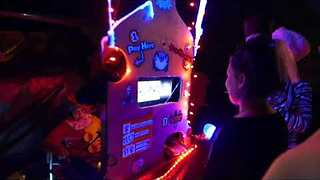 Family Constructs Hand-Crafted Halloween Candy Slot Machine - Video