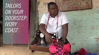 This guy fixes clothes door-to-door in the Ivory Coast - Video