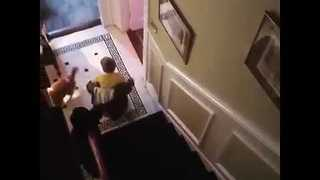 Boy and His Dog Slide Down the Stairs - Video