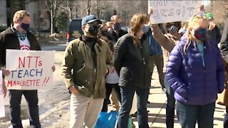 Educators, students protest layoffs, class cuts at Marquette University