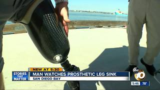 San Diego man watches prosthetic leg sink into bay - Video