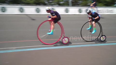 Cyclist beats 127-year-old penny farthing record