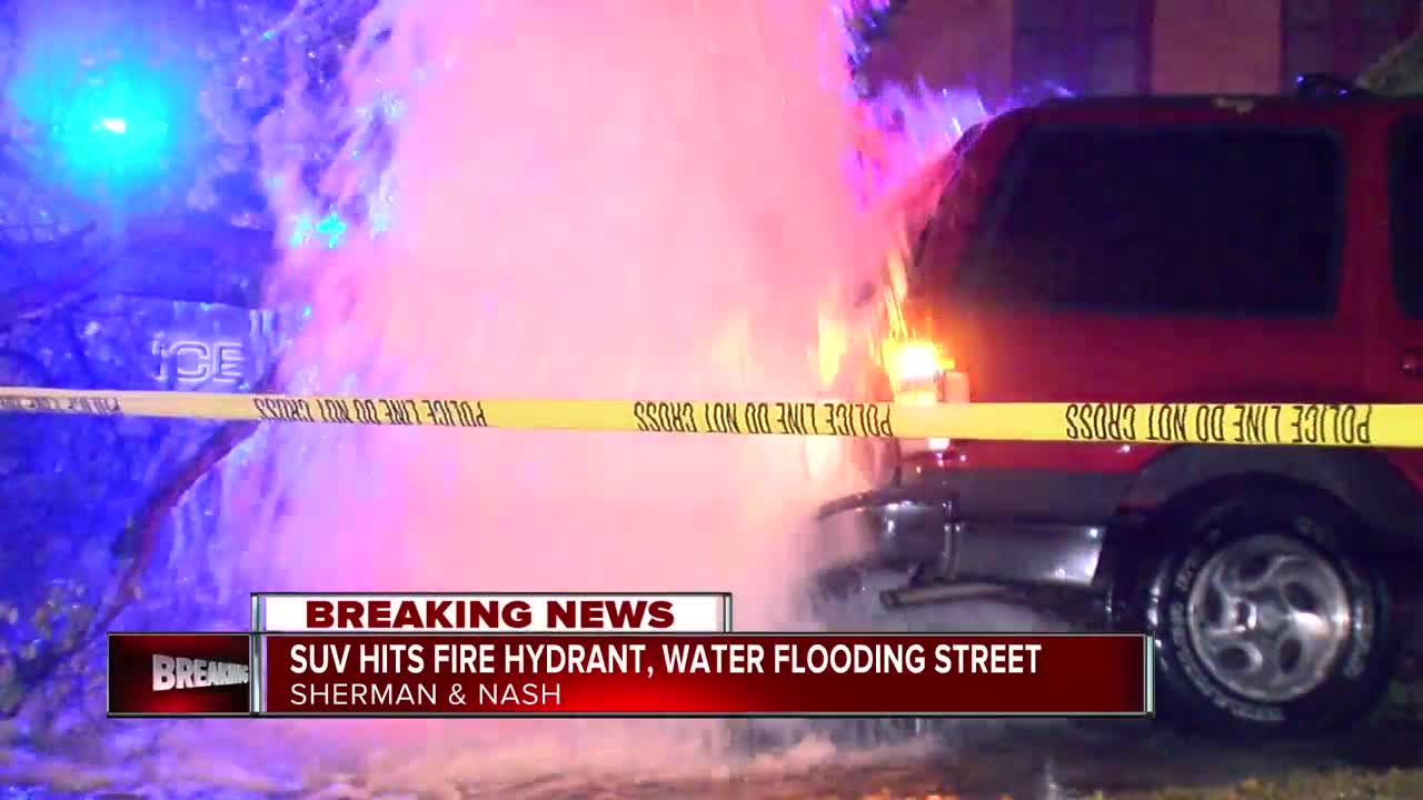 Fire hydrant crash causes street flooding on north side