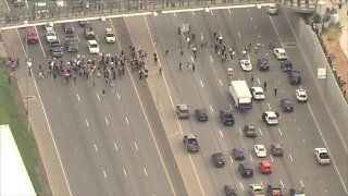 Protesters block I-25 in Denver during George Floyd protests