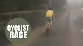 Driver posts video of cyclist holding up traffic instead of using cycle path