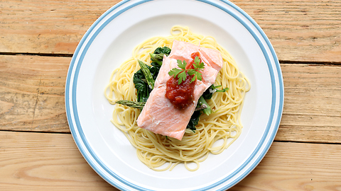 One pot salmon pasta dinner