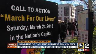 Hundreds of thousands protest gun violence - Video