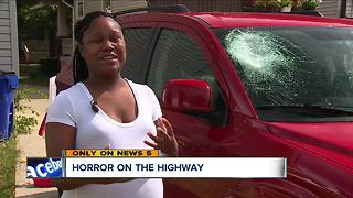Pregnant mom terrified after rock crashes through her windshield on Interstate 90 near West 117th - Video