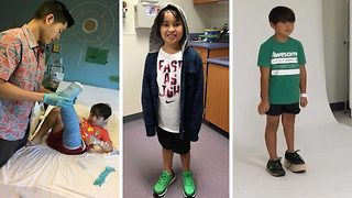 Boy forced to tiptoe due to two-inch (5cm) leg difference has bone stretching surgery to help him play sports - Video