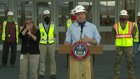 Gov. Jared Polis update from Colorado Convention Center build-out