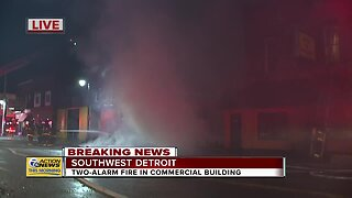 Two-alarm fire in commercial building in SW Detroit