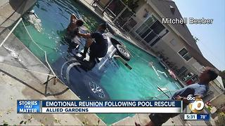 Emotional reunion following pool rescue - Video