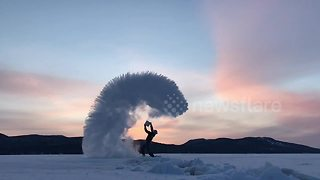Amazing Mpemba effect at sunset