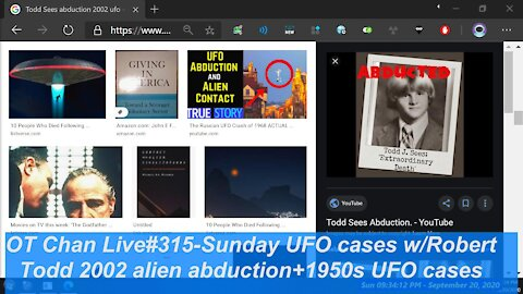 Sunday Live UFO cases with Robert, 1950s USA cases+2002 Todd Sees AlienAbduction] - OT Chan Live#315