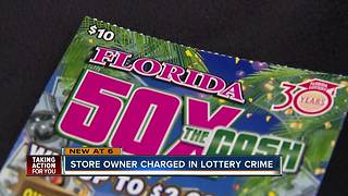 Store owner charged in lottery crime