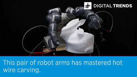 This pair of robot arms has mastered hot wire carving.