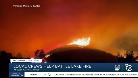 Local crews help battle Lake fire
