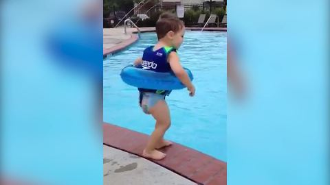Tot Boy Learns How To Jump Into A Pool