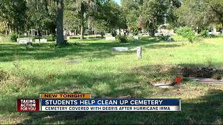 Students help clean up cemetery - Video