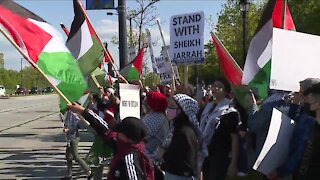 Demonstrators gather in Crocker Park to demand 'an end to Israeli attacks on Palestinians'