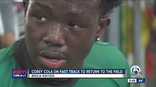 Atlantic running back Corey Cola on the fast track to recovery - Video