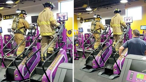 Firefighters Honor Memory Of September 11 Victims With Gym StairMasters