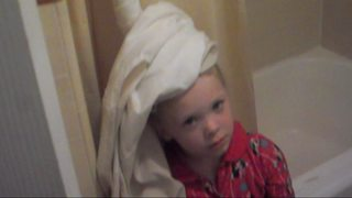 Little Girl Gets Her Hair Stuck In Shower Curtain - Video