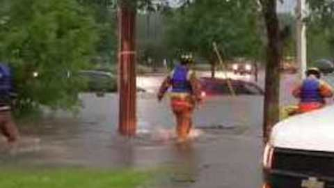 Rockford Fire Department Rescues People from Cars Submerged in Flooding