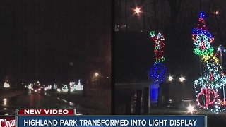 Highland park transformed into light display - Video