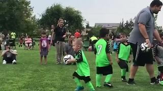 Boy Carries Soccer Ball To Goal - Video